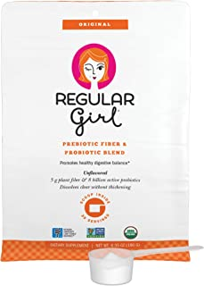 Regular Girl - Organic Powder, Low FODMAP Prebiotic Guar Fiber and Probiotic Support for Comfortable Digestion, 30 Servings
