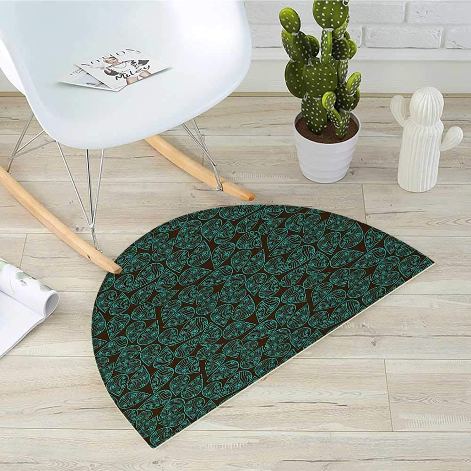 Ethnic Semicircular CushionEastern Asian Style Leaf Pattern with Traditional Folk Feng Shui Concept Entry Door Mat H 43.3  xD 64.9  Seal Brown Turquoise