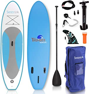 SereneLife Inflatable Stand Up Paddle Board (6 Inches Thick) Universal SUP Wide Stance w/Bottom Fin for Paddling and Surf Control | Non-Slip Deck | Youth and Adult (Renewed)