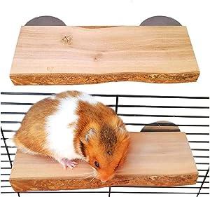 Chinchilla Wood Ledge 2Pcs Natural Wooden Shelf Standing Platform Chew Toys for Hamster Rat Guinea Pig Mouse Bird 2.6