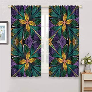 GUUVOR Fractal Premium Blackout Curtains Antique Ornate Symmetrical Stained Glass Style Artistic Vibrant Floral Pattern Kindergarten Noise Reduction Curtains W42 x L72 Inch Green Purple
