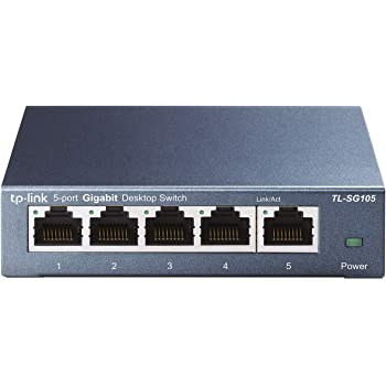 TP-Link - TL-SG105 5 Port Gigabit Ethernet Network Switch - Ethernet Splitter | Plug & Play | Fanless | Sturdy Metal w/ Shielded Ports | Traffic Optimization | Unmanaged | Limited Lifetime Protection(TL-SG105) Black