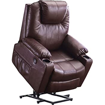 Mcombo Electric Power Lift Recliner Chair Sofa with Massage and Heat for Elderly, 3 Positions, 2 Side Pockets and Cup Holders, USB Ports, Faux Leather 7040 (Medium, Dark Brown)