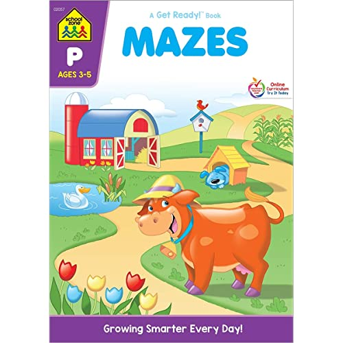 School Zone - Mazes Workbook - Ages 3 to 5, Preschool to Kindergarten, Maze Puzzles, Wide Paths, Colorful Pictures, Attention to Detail, Problem-Solving, and More (School Zone Get Ready!™ Book Series)