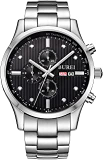 BUREI Men's Day Date Multifunction Chronograph Wrist Watches Sapphire Quartz with White Dial Metal Band