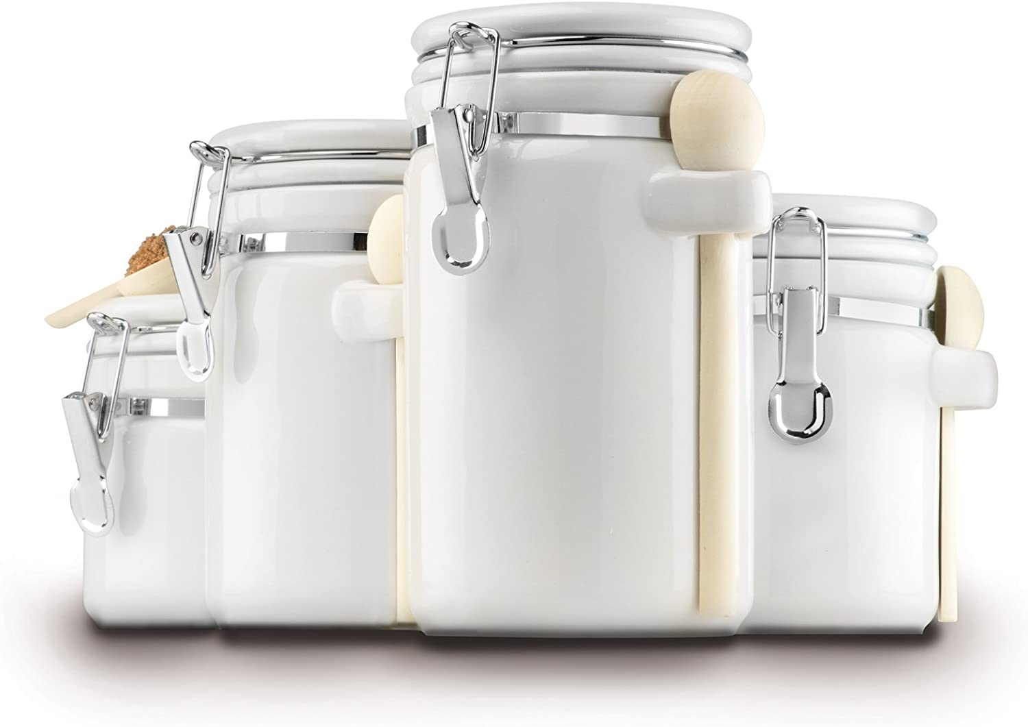 Amazon Com Anchor Hocking Ceramic Canister Set With Clamped Lid And Wooden Spoon White Mixed Sizes Set Of 4 Kitchen Storage And Organization Product Sets