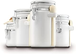 Anchor Hocking 4-Piece Ceramic Canister Set with Clamp Top Lid and Wooden Spoon, White - 03806WMR