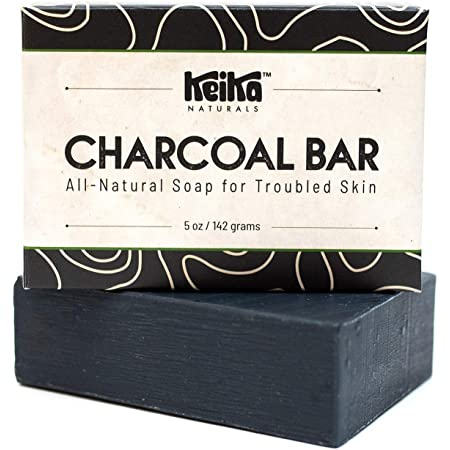 Keika Naturals Charcoal Black Soap Bar for Acne, Eczema, Psoriasis, Face, Body, Men Women Teens with Oily Skin, 5 oz.