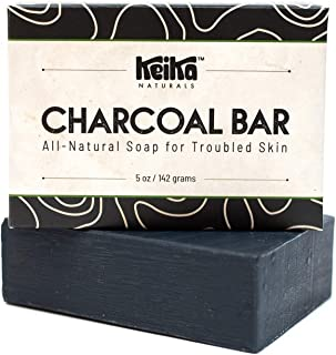 Sponsored Ad - Keika Naturals Charcoal Black Soap Bar for Acne, Eczema, Psoriasis, Face, Body, Men Women Teens with Oily S...