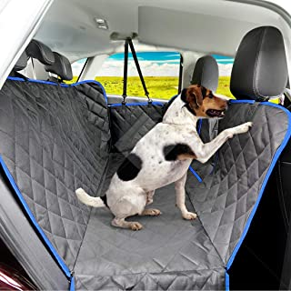 SUPSOO Dog Car Seat Covers Pets Backseat Covers with Mesh Visual Window, 100% Waterproof and Scratchproof & Nonslip Backing & Hammock Convertible and Side Flaps for Cars/Trucks/SUV - Black