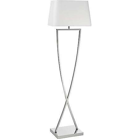 EXO Lighting - Lampadaire de salon IRIS base chromée Douille intérieure E27 IP20 avec abat-jour blanc. Lampadaire idéal pour le salon, la salle à manger ou les chambres.