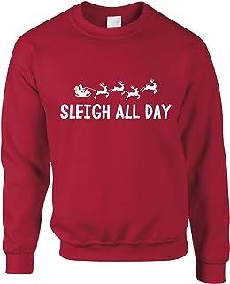Tim And Ted Joke Christmas Sweatshirt Sleigh Slay All Day Pun Novelty