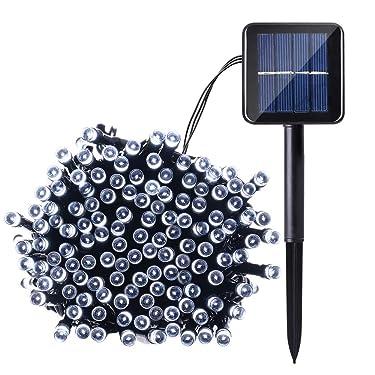 Joomer - Luces solares de Navidad (9 pies, 100 LED, 8 modos), color blanco