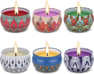 Angium Scented Candles Gift Set (Lavender, Rose,Peppermint,Grapefruit,Lemongrass,Orange) Soy Wax Tin Candles, Natural Fragrance Candles for Stress Relief and Aromatherapy Candles 6 Pack