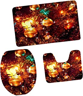 Fenteer Set of 3 Christmas Bathroom Rug Set Toilet Seat Lid Cover Xmas Cute Decor - D
