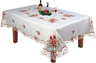 Creative Linens Holiday Christmas Embroidered Red Poinsettia Candle Bell Tablecloth 70x90 & 8 Napkins White