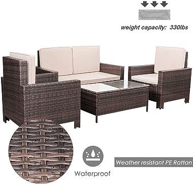 Homall 4 Pieces Outdoor Patio Furniture Sets Rattan Chair Wicker Conversation Sofa Set, Outdoor Indoor Backyard Porch Garden