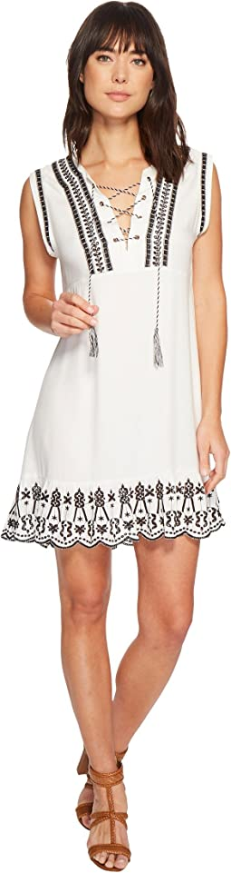 Paige Embroidered Lace-Up Dress