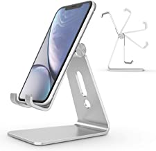 Adjustable Cell Phone Stand, OMOTON Aluminum Desktop Cellphone Stand with Anti-Slip Base and Convenient Charging Port, Fits All Smart Phones (Silver)