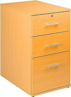 Bureau à 3 tiroirs verrouillable en hêtre - Meuble de Bureau avec Suspension A4