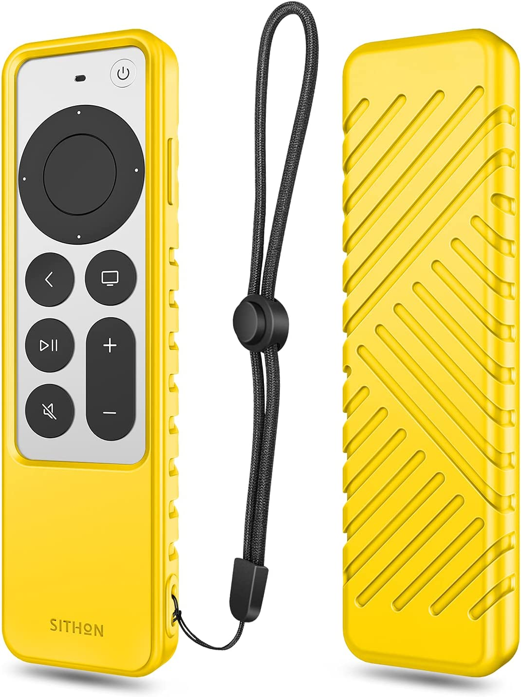 SITHON Silicone Case for Apple TV 4K 2021 Remote Controller, Lightweight Shockproof Anti Slip Protective Cover with Lanyard Strap for Apple TV 4K / HD Siri Remote (2nd Gen), Yellow