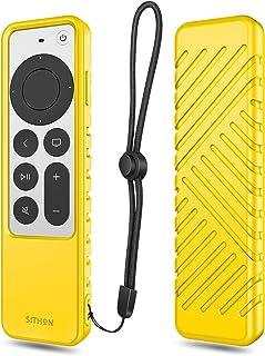 SITHON Siliconen hoesje voor Apple TV 4K 2021 afstandsbediening, lichtgewicht schokbestendige anti-slip beschermhoes met L...