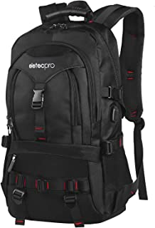 EletecPro Unisex 17.3 Inch Waterproof Laptop Backpack with USB Charging Port,Durable Travel Backpack with Contains Multi-Function Pockets for Women & Men (Black)