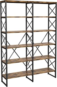 IRONCK Industrial Bookshelf Double Wide 6-Tier, Open Large Bookcase, Wood and Metal Bookshelves for Home Office, Easy Assembly, Vintage Brown