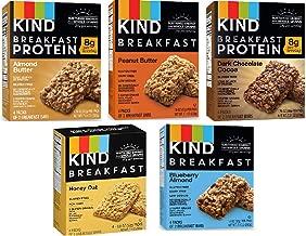 Kind Breakfast Bars New Variety 5 Pack. 1 Box of each: Dark Chocolate, Honey Oat, Peanut Butter,  Almond Butter. Total of 40 Bars