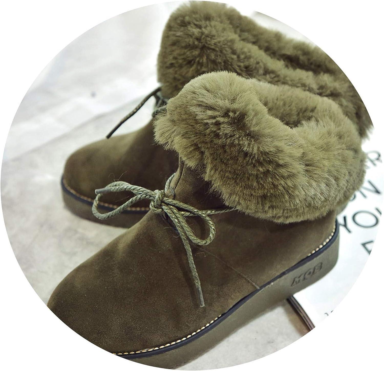 Fur Snow Boots Women Rope Bowtie Platform Ankle Boots ening Padded Winter shoes Plush Botas women