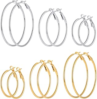 Hoop Earrings for Women Girls, Stainless Steel...