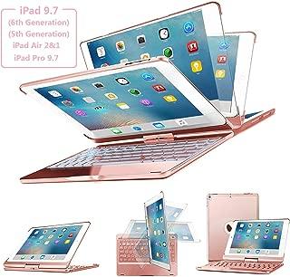 Keyboard Case for iPad 9.7, SENGBIRCH 7 Colors Backlit Wireless Keyboard Case Folio Smart 360 Rotate Stand Cover for iPad Air, iPad Air 2, iPad pro 9.7, iPad 9.7 2017/2018 Tablet, Rose Gold