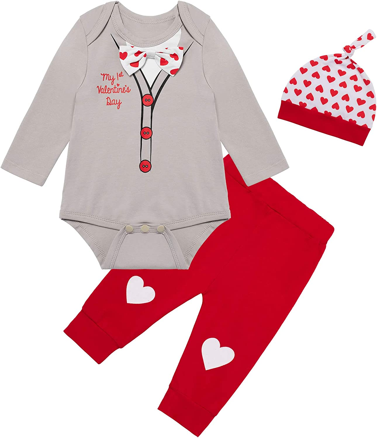 Baby Boys My 1st Valentine's Day Outfit Gentleman Bow Tops Funny Pants with Hat