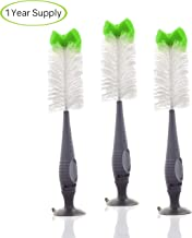 Bottle Brush With Soft Bristles - 3 PACK - 3 Premium Value Bottle Brushes - Sports/Beer/Water/Glass Bottle Brush - Includes Nipple Brush Feature