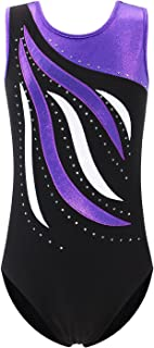 Leotards Girls Gymnastics Embroidery Shiny Aqua Rose Diamond Dance Clothes