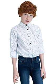 DeFacto Button Down Roll-Up Long Sleeves Patterned Cotton Shirt for Boys