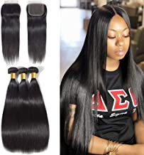 Unprocessed Brazilian Straight Hair 3 Bundles with Closure Grade 10A Virgin Human Hair Extensions Natural Black Color