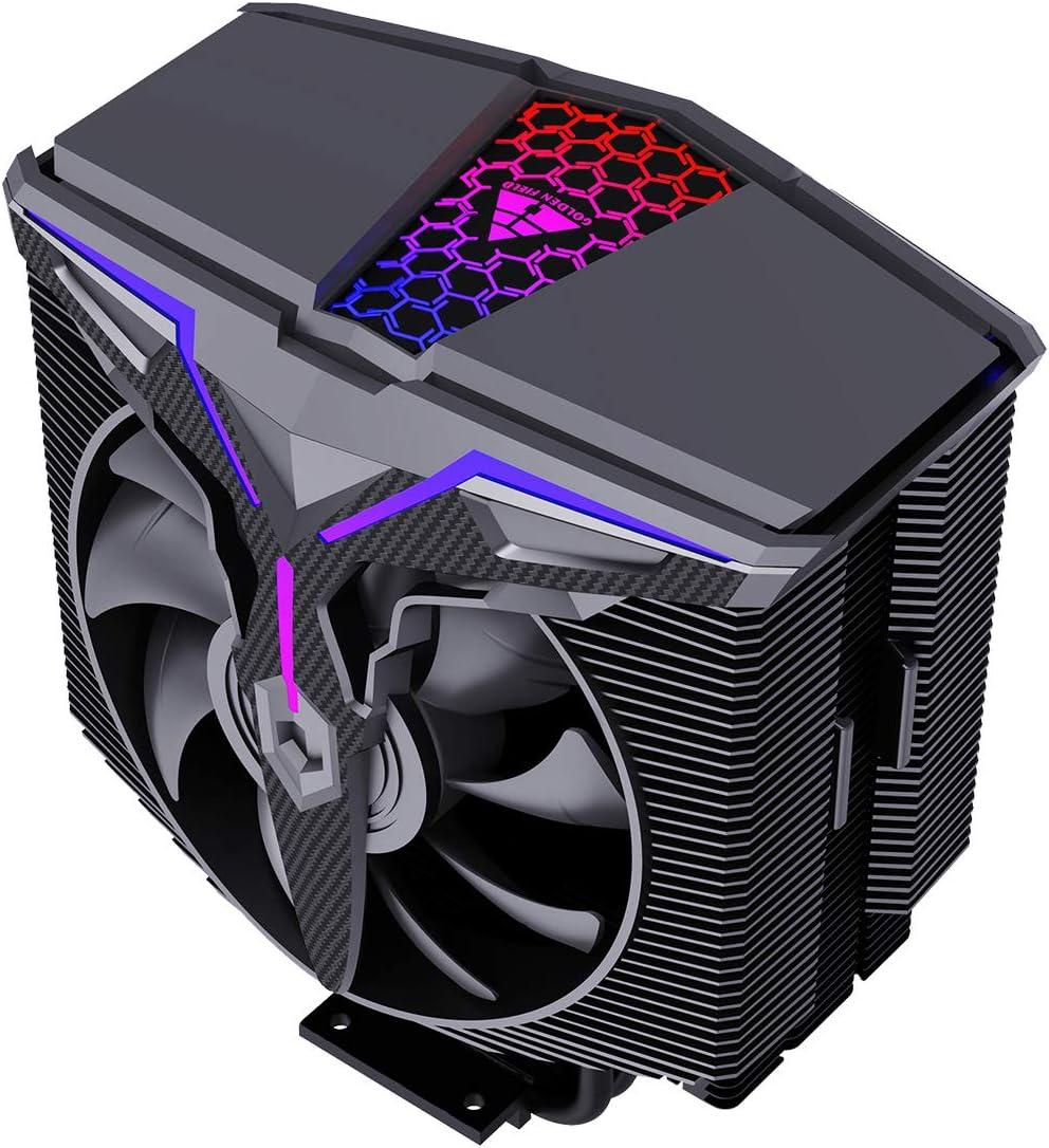 GOLDEN FIELD Wind Walker A-RGB, ventilador de CPU de 5V M/B SYNC, 2* ventiladores PWM optimizados a presión, 4 tubos de calor ventilador de CPU para Intel AMD