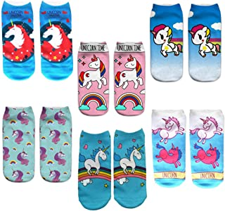 6 Pairs Unicorn Low Cut Cartoon Sock, Cute Novelty Ankle Socks for Girls Women