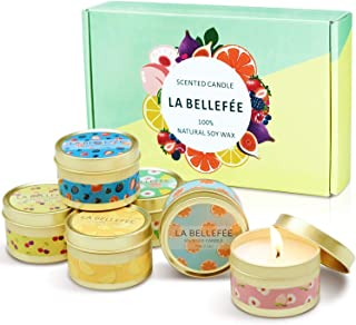 LA BELLEFÉE Scented Candle 100% Soy Wax Gift Set Travel Tin Candles ... Berry, Peach, Cherry, Grapefruit, Tarocco Blood Or...