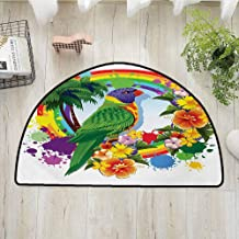 Xlcsomf Soft semi-Circular Door mat Parrot Easy to Care Parrot Lorikeet in Rainbow Circle with Palm Trees Tropical Plants Flowers Art Print,W30 x L18 Multicolor