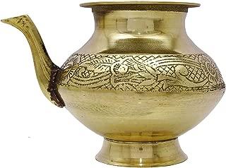 Gold Tone Brass Karwa Chauth Lota Prayer Temple Badna Pooja Kalash Water Pot