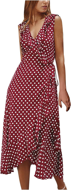 Women's Maxi Dress Bohemian 2021 Printed Ladies V Neck Wrap Dresses Sleeveless Ruffle High Split Beach Summer Dresses