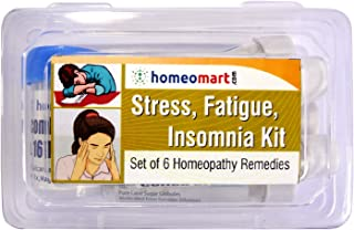 Stress Fatigue Insomnia Relief kit, Pack of 6 homeopathic Remedies with Pills, Contains Bryonia 30C, Ignatia Amara 30, Coffea Cruda 30C, Carbo Veg30C, Aconite Nap 30C, BioCombination 16 Tablets