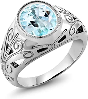 Gem Stone King 925 Sterling Silver Sky Blue Topaz Men's Ring (6.00 Ct Oval, Gemstone Birthstone, Available in size 7, 8, 9, 10, 11, 12, 13)