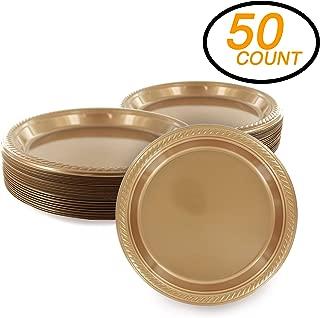 Amcrate Gold Disposable Party Plastic Dessert Plates 7