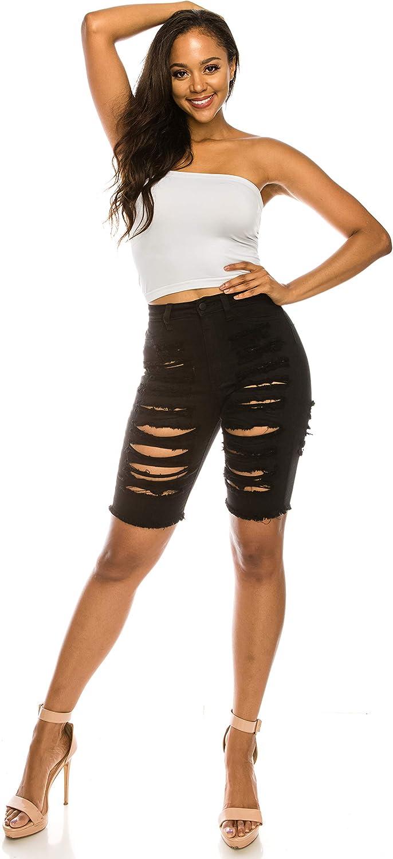 Aphrodite Ripped Bermuda Shorts Jeans - Women's Hand Sanding Destroyed Distressed Fashion Denim Short Pants