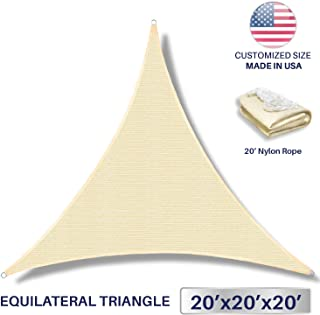 Windscreen4less 20' x 20' x 20' Sun Shade Sail Canopy in Beige with Commercial Grade (3 Year Warranty) Customized
