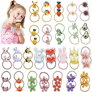50Pieces/25 pairs Baby Girls Cute Pattern Hair Ties Elastic Hair Bands Ponytail Holders Hair Accessories for Infants Toddlers Kids Children