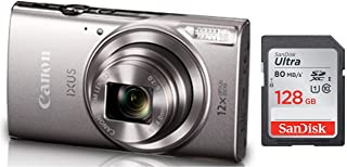 Canon IXUS-285 HS 20.2MP Point and Shoot Camera with 12x Optical Zoom(Silver) + SanDisk 128GB Ultra SDXC UHS-I Memory Card - 100MB/s, C10, U1, Full HD, SD Card